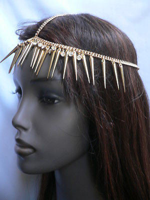 New Women Gold Head Chain Spikes Fashion Jewelry Rhinestones Circlet Headband - alwaystyle4you - 12