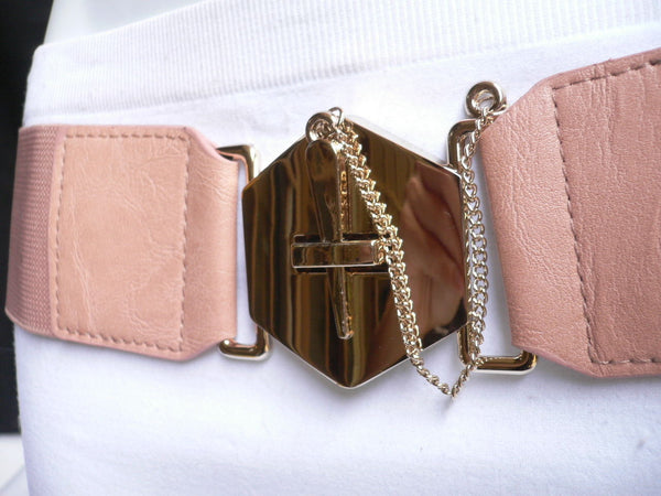 Blue Gray / Black /  Beige / Pink Coral Elastic Stretch Faux Leather Belt Gold Buckle Chains Big Cross New Women Fashion Accessories S M L - alwaystyle4you - 26