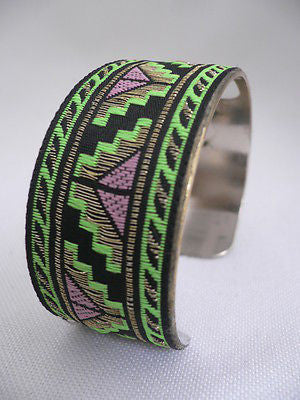 Gold Metal Cuff African Drawing Bracelet Green Color Adjustable New Women Fashion Jewelry Accessories