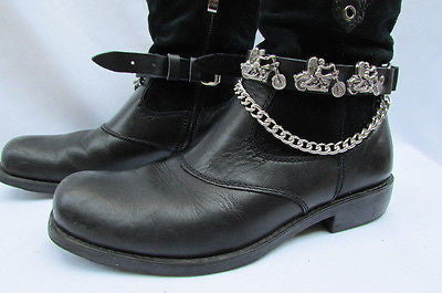 Biker Men Western Women Boot Silver Chain Pair Leather Motorcycle Boot Accessory - alwaystyle4you - 3