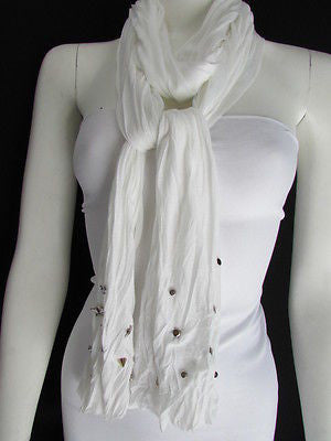 New Women Soft Fabric Fashion White / Blue /  Gray / Black Scarf Long Necklace Silver Metal Stars Studs - alwaystyle4you - 6