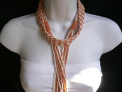 New Women Tie Multy Chains Fashion Long Necklace Coral White Beads Braided Desig - alwaystyle4you - 2