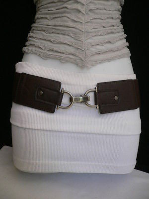 Black Red Dark Green Blue Hip Waist Elastic Stretch Back Wide Belt Silver Clip Buckle New Women Fashion Accessories S M