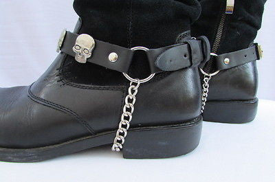 Biker Unisex Boots Silver Chains Pair Leather Straps Metal Skulls New Western Fashion - alwaystyle4you - 2