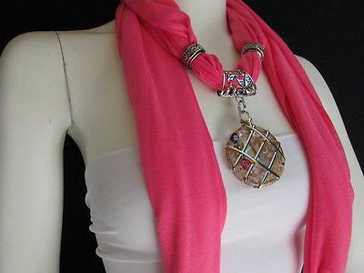 Glass Pendant Pink Soft Fabric Scarf Long Necklace Silver Metal  New Women  Fashion - alwaystyle4you - 6