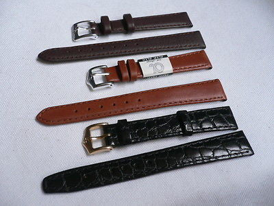 New Men Women 3 Watch Band Set Genuine Leather Crocodile Solid Anti Allergy Casual Elegant Black Dark Light Brown Fashion Jewelry 14 Mm - alwaystyle4you - 8