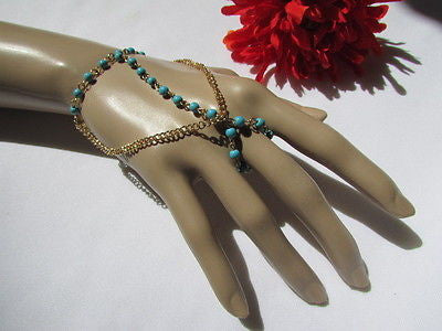 Women Gold Fashion 3 Strands Hand Chains Sky Blue Beads Hand Bracelet Slave Ring - alwaystyle4you - 2