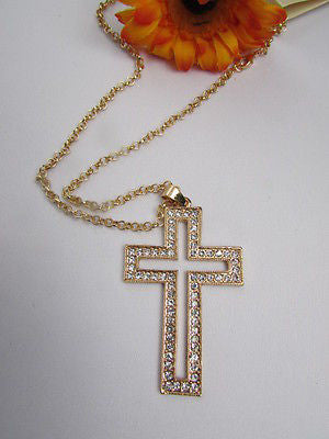 Wester Women Gold Metal Fashion Necklace Big Cross Pendant Silver Rhinestones 15 - alwaystyle4you - 2
