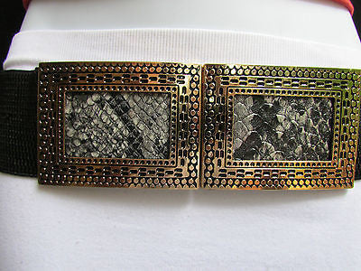 Black / Brown Hip Waist Stretch Belt Snake Print Moroccan Buckle Style Women Fashion Accessories Size S  M - alwaystyle4you - 1