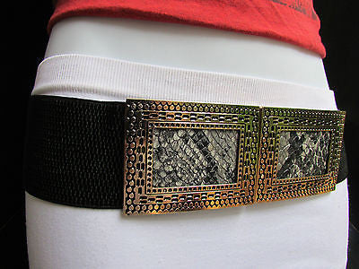Black / Brown Hip Waist Stretch Belt Snake Print Moroccan Buckle Style Women Fashion Accessories Size S  M - alwaystyle4you - 10
