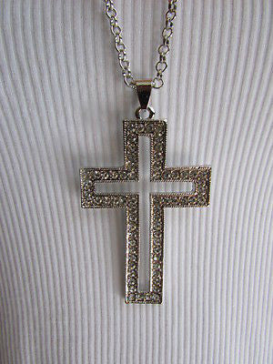 "Silver Metal Necklace Big Cross Pendant Rhinestones 15"" New Women Fashion Accessories"