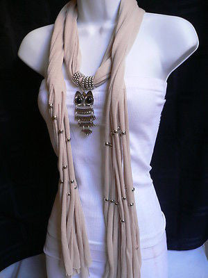 New Women Long Beige / Pnk Soft Scarf Fashion Necklace Silver Owl Pendant Rhinestones - alwaystyle4you - 9
