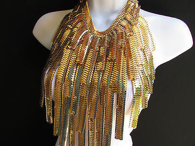 "Dressy Casual Wide Multi Strand Gold / Silver Links Chains Wide Metal New Women Necklace 20"" - alwaystyle4you - 7"