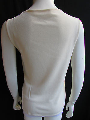 Brand New Valentino Women Top Basic Cream - Off White Classic Boat Neck Sleevless Knit Shirt Size: Large - alwaystyle4you - 8