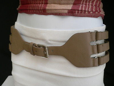 Faux Leather Elastic Hip Waist Belt Silver Buckle Rings Rib Cage New Women Accessories S M