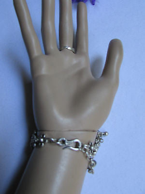 New Women Silver Flower Metal Chains Slave Bracelet Turkish Cuff Ring Hand Made - alwaystyle4you - 10