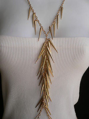 Women Gold Long Spikes Long Body Chain Fashion Trendy Fashion Jewerly Style - alwaystyle4you - 2