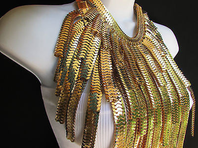 "Dressy Casual Wide Multi Strand Gold / Silver Links Chains Wide Metal New Women Necklace 20"" - alwaystyle4you - 9"