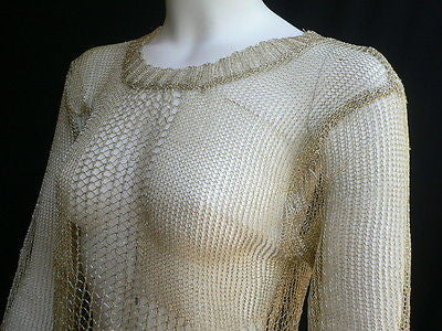 New Women Metallic Gold Knit Top Sweater Fashion Tunic Long Sleeves Blouse Size Small - alwaystyle4you - 8