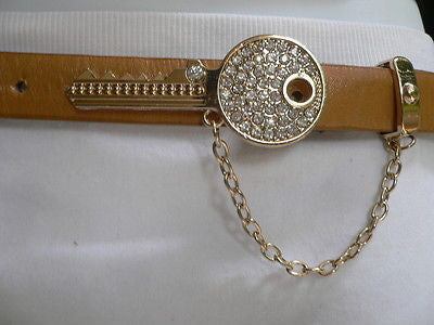 Brown Nude / Blue /  Black / Light Pink Hip Waist Thin Belt Metal Multi Rhinestones Gold Key Buckle New Women Fashion Accessories Medium - alwaystyle4you - 13