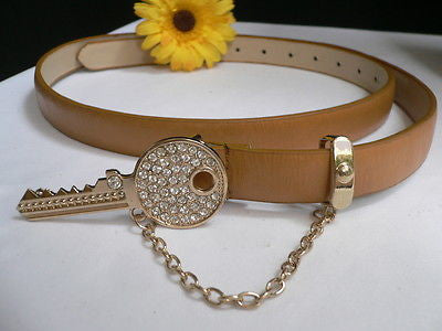 Brown Nude / Blue /  Black / Light Pink Hip Waist Thin Belt Metal Multi Rhinestones Gold Key Buckle New Women Fashion Accessories Medium - alwaystyle4you - 14