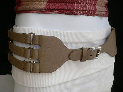 Aqua Blue Taupe Light Brown Black Red Faux Leather Elastic Hip Waist Belt Silver Buckle And Rings Rib Cage Women Fashion Accessories S M - alwaystyle4you - 6
