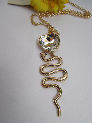 Women Gold Metal Chains Fashion Necklace Big Snake Pendant Heart Rhinestones - alwaystyle4you - 2