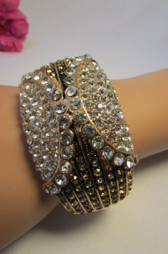 Gold / Silver Metal Retro Bracelet Cuff Multi Rhinestones New Women Fashion Jewelry Accessories - alwaystyle4you - 2