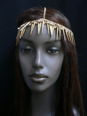 New Women Gold Head Chain Spikes Fashion Jewelry Rhinestones Circlet Headband - alwaystyle4you - 6