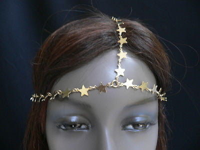 Gold Metal Head Chain Multi Mini Stars Grecian Circlet New Women Trendy Jewelry Accessories