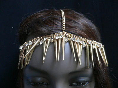New Women Gold Head Chain Spikes Fashion Jewelry Rhinestones Circlet Headband - alwaystyle4you - 8
