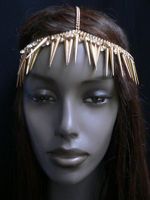 New Women Gold Head Chain Spikes Fashion Jewelry Rhinestones Circlet Headband - alwaystyle4you - 4