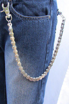 "Silver Metal Extra Long Wallet Chains Key Chain Motorcycle Biker Rocker 20"" New Men Style Accessories"