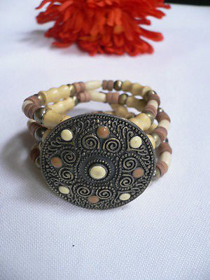 Beige Brown Wood Cream / Brown Bracelet Gold Dots Beads Native Style Fashion New Women Jewelry Accessories - alwaystyle4you - 2