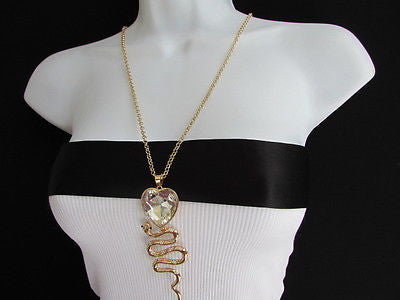 Women Gold Metal Chains Fashion Necklace Big Snake Pendant Heart Rhinestones - alwaystyle4you - 3