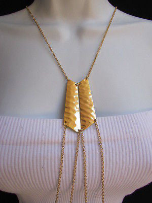 Women La Gold Double Metal Plate Classic Chic Body Chain Jewelry Long Necklace - alwaystyle4you - 2