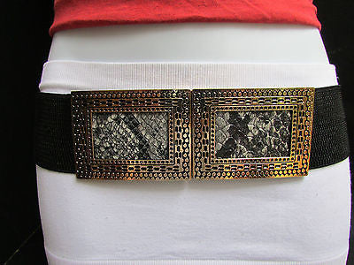 Black / Brown Hip Waist Stretch Belt Snake Print Moroccan Buckle Style Women Fashion Accessories Size S  M - alwaystyle4you - 2