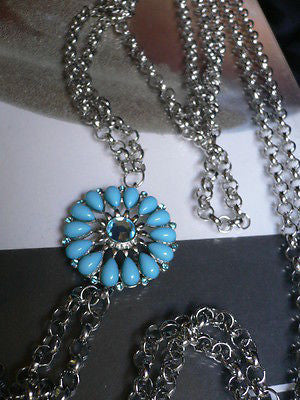 Blue Turquize Flower Beads Metal Body Chain Hot New Women Necklace Jewelry - alwaystyle4you - 8