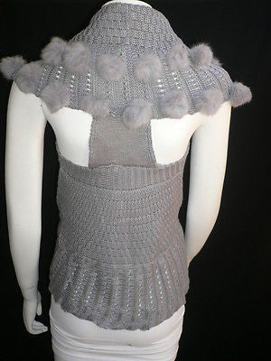 New Women Gray Trendy Knit Shawl Warm Sexy Top Faux Fun Ball Fashion Sweater Size L - alwaystyle4you - 5
