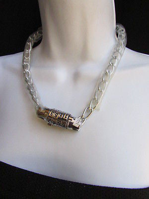 New Number Lock Women Chunky Silver Metal Trendy Punk Fashion Bikers Necklace - alwaystyle4you - 5