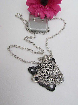 Ny Chic Women Silver Black Leopard Necklace Tiger Head Pendant Rhinestones Long - alwaystyle4you - 10