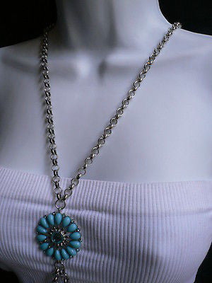 Silver Metal Chains Blue Turquize Flower Beads Metal Body Chain Hot New Women Necklace Jewelry