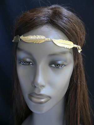 New Women Big Gold Metal Leaf Head Chain Band Fashion Jewelry Grecian Headband - alwaystyle4you - 8