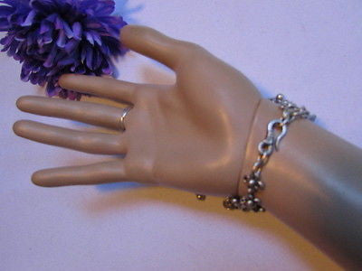 New Women Silver Flower Metal Chains Slave Bracelet Turkish Cuff Ring Hand Made - alwaystyle4you - 6