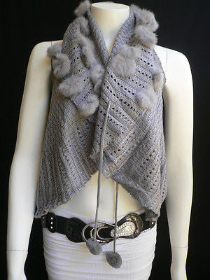 New Women Gray Trendy Knit Shawl Warm Sexy Top Faux Fun Ball Fashion Sweater Size L - alwaystyle4you - 1