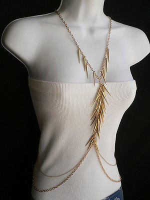Women Gold Long Spikes Long Body Chain Fashion Trendy Fashion Jewerly Style - alwaystyle4you - 3