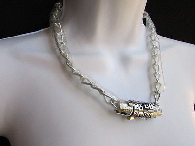 New Number Lock Women Chunky Silver Metal Trendy Punk Fashion Bikers Necklace - alwaystyle4you - 10