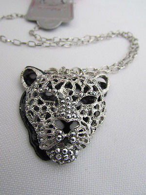 Ny Chic Women Silver Black Leopard Necklace Tiger Head Pendant Rhinestones Long - alwaystyle4you - 2