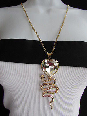 Women Gold Metal Chains Fashion Necklace Big Snake Pendant Heart Rhinestones - alwaystyle4you - 1