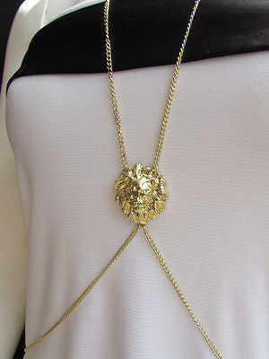 Women Full Body Chain Jewelry Long Necklace Paris Style Gold Metal Lion Head Thin - alwaystyle4you - 4